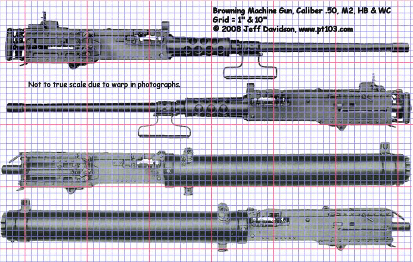 Browning .50 Cal M2 HB and WC Profile Dimensions