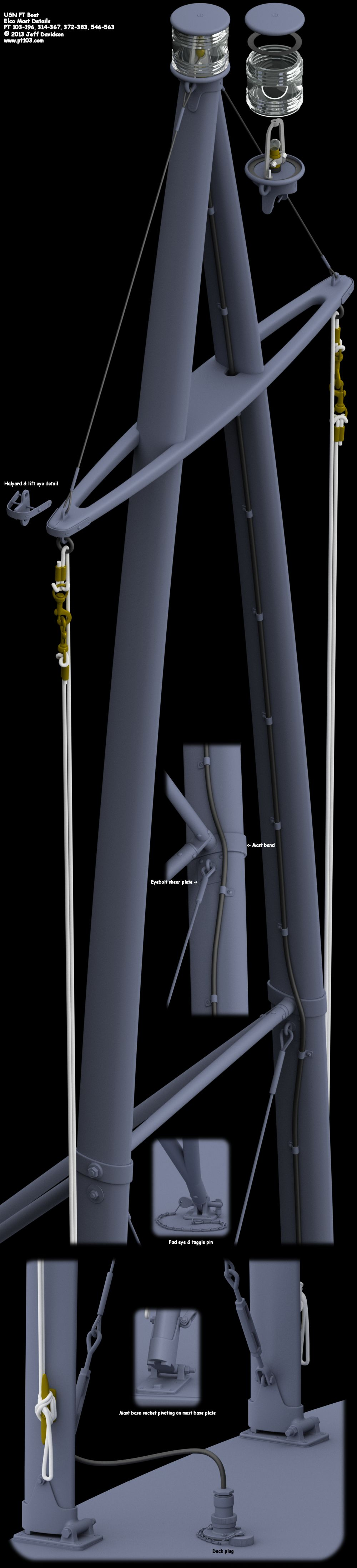 Elco PT Boat 103 Class Mast Perspective